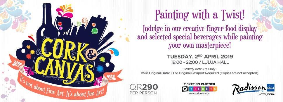 Cork & Canvas  Painting with a Twist 2nd April | Events | Tickets | Discounts | Qatar Day