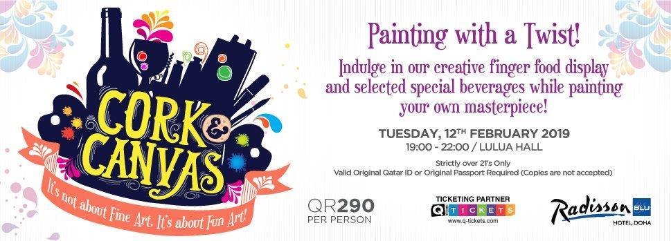 Cork & Canvas  Painting with a Twist 12th Feb | Events | Tickets | Discounts | Qatar Day