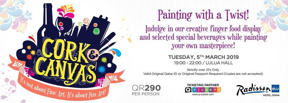 Cork & Canvas  Painting with a Twist 5th March | Events | Tickets | Discounts | Qatar Day