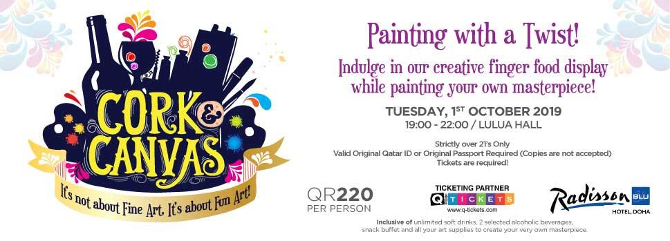 Cork & Canvas  Painting with a Twist 1st October   Events   Tickets   Discounts   Qatar Day